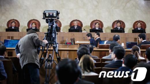 지난 3월 21일 대법원에서 국외이송약취 혐의로 기소된 베트남 여성 재판의 공개변론이 생중계되고 있다. /뉴스1  News1 유승관 기자