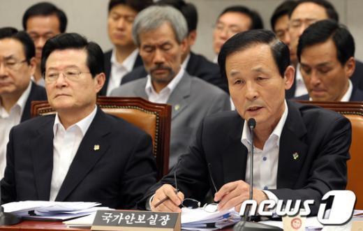 [사진]김장수, 운영위 전체회의 출석