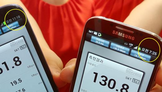 2배 빠른 'LTE-A', 속도 측정 시연회 사진 조작?
