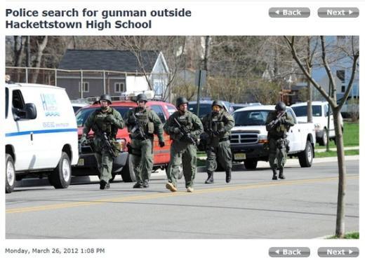 신고접수 이후 미국 경찰의 출동 모습.  News1