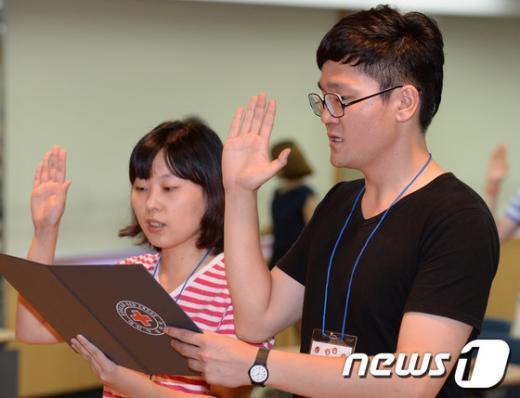 [사진]굳은 다짐하는 대학생 헌혈 서포터즈