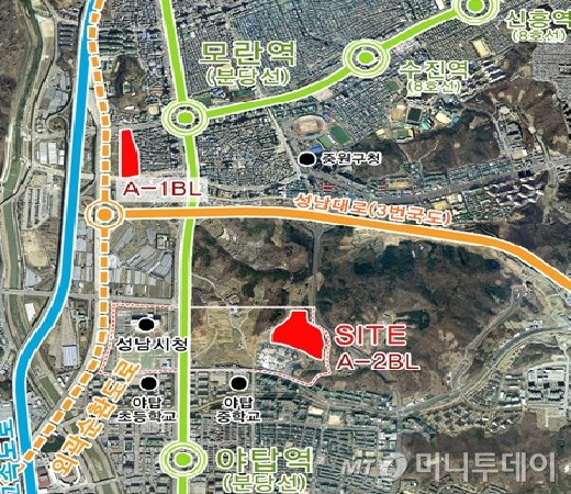 경기 성남시 성남여수보금자리주택지구내 A2블록 위치도./자료제공=LH