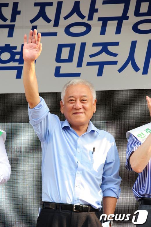 [사진]김한길 대표, 천안 국민보고대회 인사