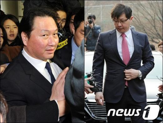 최태원 SK그룹 회장(좌) 최재원 수석부회장.  News1 박세연 기자