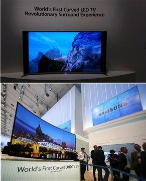 소니가 '세계 최초'라며 커브드 LED TV(위). 삼성전자는 한 단계 높은 UHD급 커브드 LED TV(아래)를 내놨다.