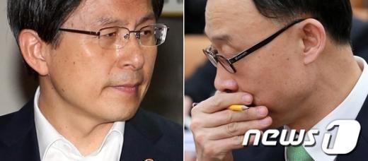 황교안 법무부 장관(왼쪽)과 채동욱 전 검찰총장.  News1