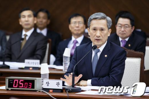 [사진][2013국감] 김관진 '軍, 정치쟁점 안타까워'