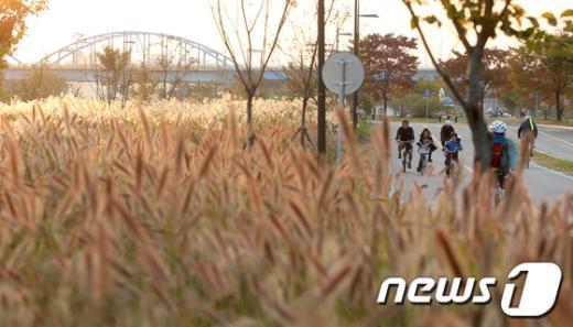 석양에 황금빛으로 물든 서울 이촌한강공원에서 시민들이 자전거를 타고 있다. /뉴스1  News1 한재호 기자