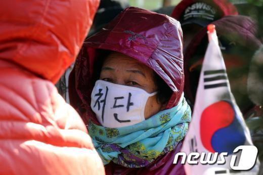 [사진]보수단체 회원의 '처단' 마스크