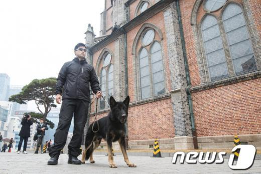 [사진]'명동성당에 폭발물탐지견이?'