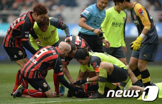 [사진]경기 중 의식 잃은 몰리나 선수