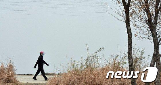 2일 오후 서울 영등포구 한강시민공원에서 한 시민이 마스크를 쓴 채 산책을 하고 있다./뉴스1 © News1 최영호 기자