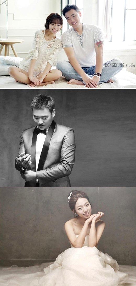 김진우-김혜경 커플. /사진=KIA 타이거즈 제공<br />