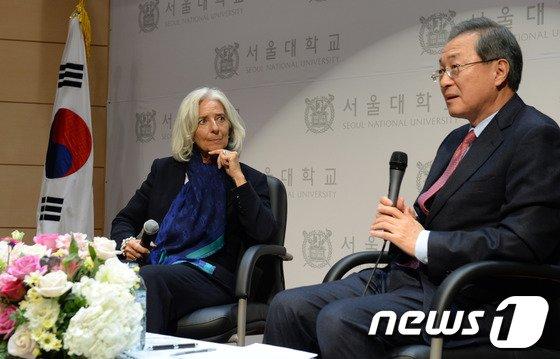[사진]크리스틴 라가르드 '한국 경제, 균형 있는 성장해야'