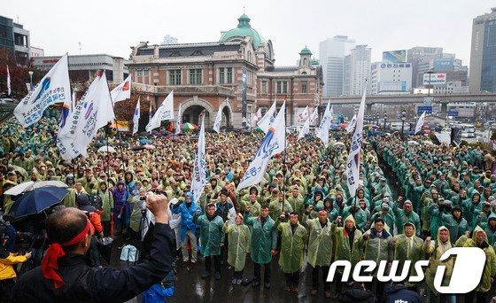 [사진]'총파업' 서울역 광장에 모인 철도노조