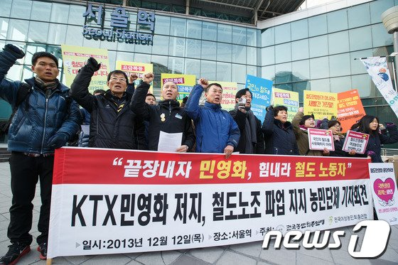 [사진]농민단체 '철도노조 파업 지지'