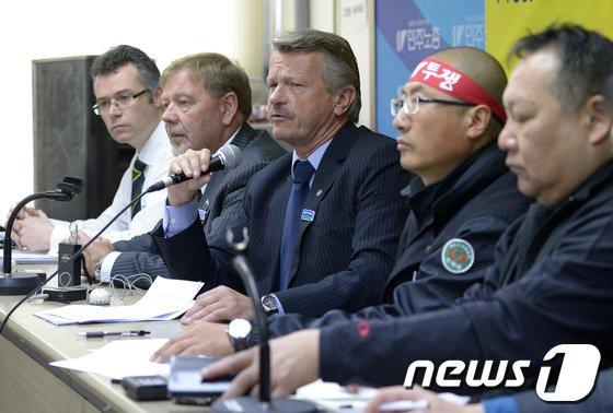 [사진]국제노동계, 철도 파업 지지