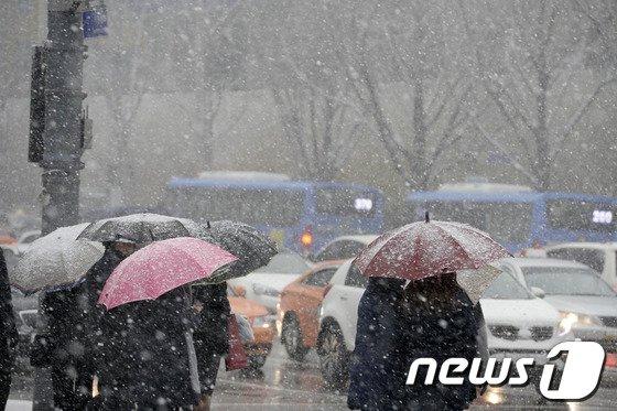 [사진]함박눈에 우산 핀 시민들