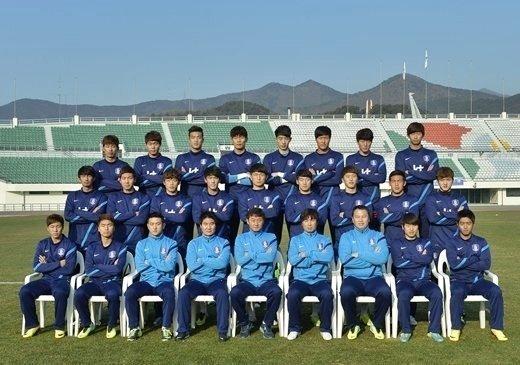 U-22 대표팀 단체사진. /사진=대한축구협회 제공<br />