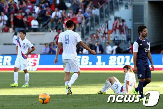 [사진]한국 '미국에 0대 2로 패배'