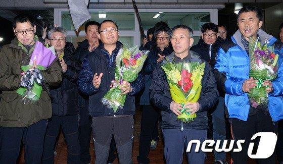 [사진]보석 석방된 철도노조 지도부