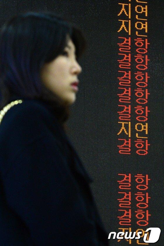 [사진]안개·미세먼지, 항공기 결항 속출한 김포공항