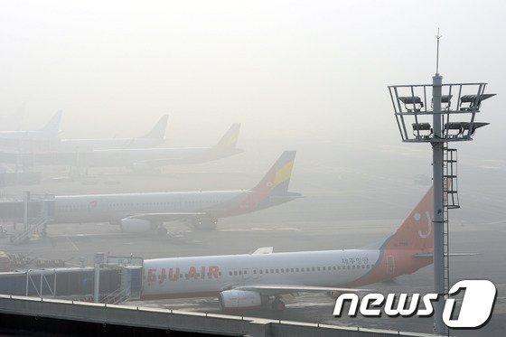 [사진]안개에 발묶인 김포공항