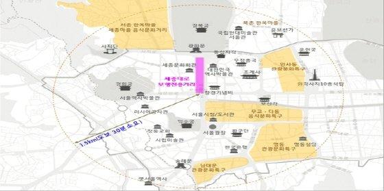 보행전용거리 중심의 보행문화 확산 개념도./도표제공=서울시
