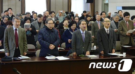 [사진]3·1혁명 100주년기념사업추진위, 삼일절 노래 제창