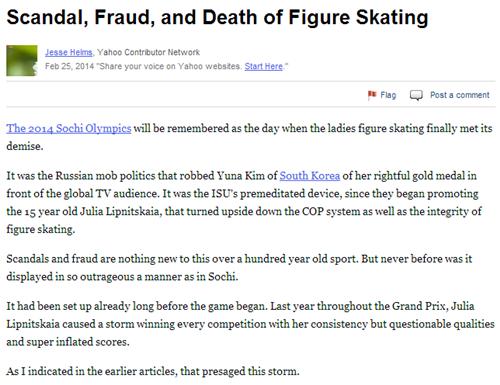 """""""스캔들, 사기, 피겨스케이팅의 종말"""" 이란 제목으로 소치올림픽의 음모를 비난한 헬름스 /사진=야후스포츠 캡처<br /> <br />"""
