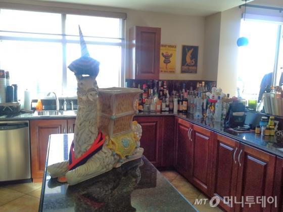 토니 셰이가 사는 아파트 주방. 그는 침실 뺴고는 모두 공개하고 있다. 가운데 조형물은 그가 좋아하는 라마. /라스베가스=유병률기자