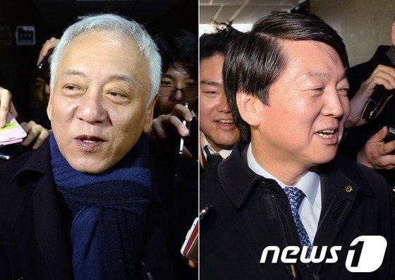 """김한길 민주당 대표(왼쪽)와 안철수 새정치연합 중앙운영위원장이 6일 오후 여의도 국회에서 비공개 회동을 마친 후 회동장을 나서고 있다. 김 대표는 통합신당 논의에 대해 묻는 취재진의 질문에 """"결정된거 없다, 결정되면 밝히겠다""""고 밝혔다. 2014.3.6/뉴스1 © News1 박세연 기자"""
