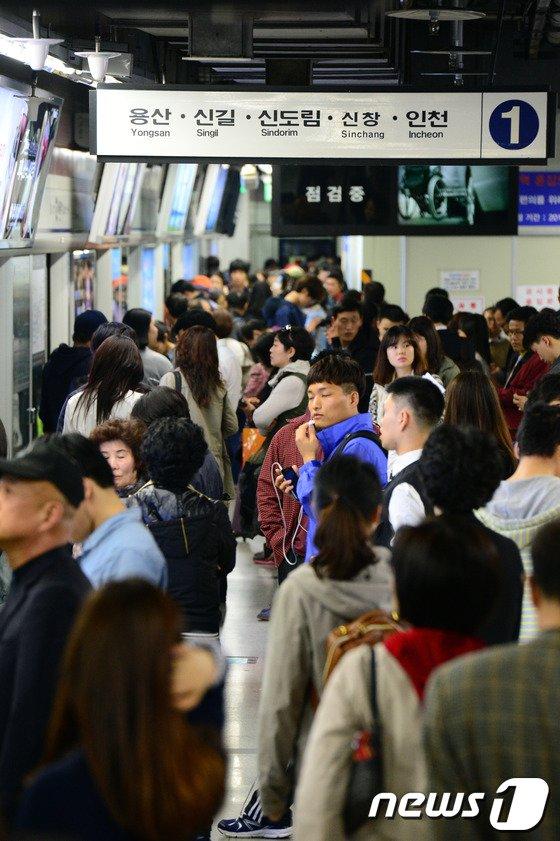 [사진]서울지하철 1호선 또 멈춰, 시민들 큰 불편
