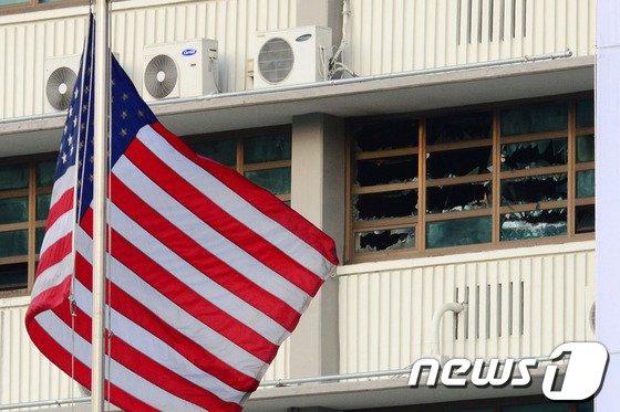 [사진]주한美대사관 화재…인명피해 없어