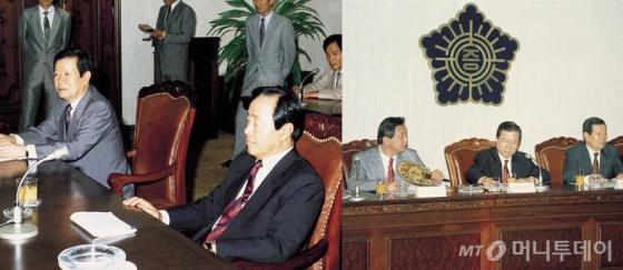 1990년 8월 김대중 당시 평화민주당 총재(오른쪽)와 김영삼 민주자유당 대표가 증권거래소를 잇따라 방문했다. /사진제공=금융투자협회.