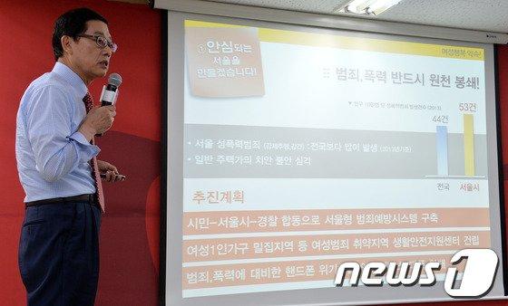 [사진]김황식 '서울시 여성범죄 뿌리뽑는다'