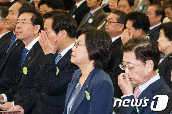 [사진]서울시장 예비후보 한자리에 '묘한 긴장감'
