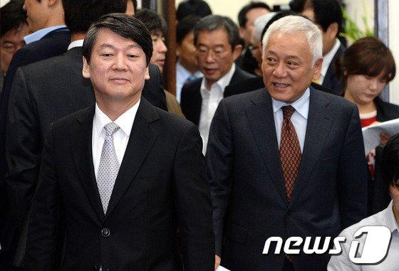 [사진]최고위원회의 참석하는 김한길-안철수
