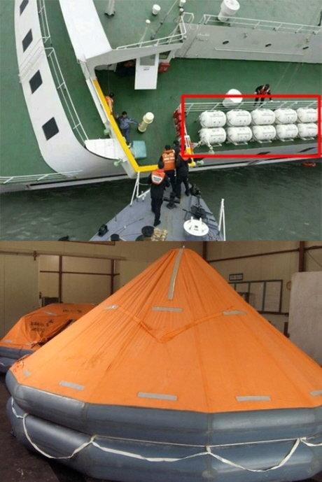16일 진도 인근 해상에서 침몰된 선박에 구비돼 있는 구명 뗏목(위 빨간 네모 안). 구명 뗏목을 펼치면 아래와 같은 모습이 된다. /사진=서해지방해양경찰청 제공(위), 항도선박설비 블로그