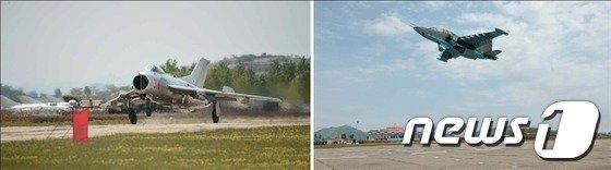 북한 노동신문이 10일 공개한 북한 전투기의 모습. 북한은 이번 '조선인민군 항공 및 반항공군 비행지휘관 전투비행술경기대회-2014' 대회에 미그-21·29, 수호이-25 전투기, AN-2 저공침투기 등을 모두 참가시킨 것으로 전해졌다.(사진 : 노동신문)ⓒ News1