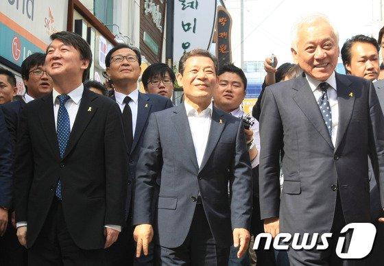 [사진]광주 방문한 김한길-안철수 공동대표