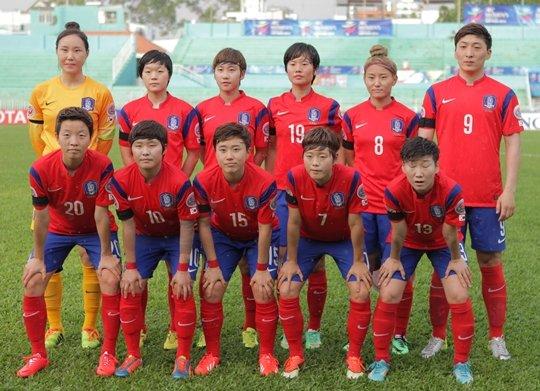 한국 여자축구대표팀 선수들. /사진=대한축구협회 제공<br /> <br />