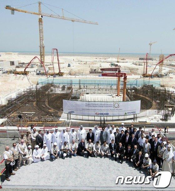 지난해 5월 28일(현지시간) 아랍에미리트(UAE) 아부다비 바라카(Barakah) 현지에서 열린 원전 2호기 착공식 모습 (산업통상자원부 제공)2013.5.28/뉴스1 © News1   이광호 기자