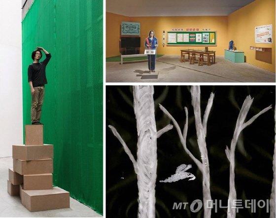 장현준 '(    )/수행'(왼쪽), 송호준 '인공위성 퀴즈쇼'(오른쪽위), 심래정 '밤하늘을 나는 새' /사진제공=삼성미술관