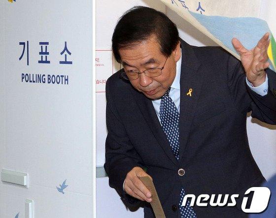 [사진]기표 마친 박원순 후보