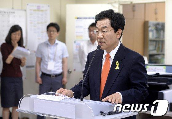 """[사진]고승덕 """"문용린·조희연 단일후보 명칭은 허위사실 유포"""""""