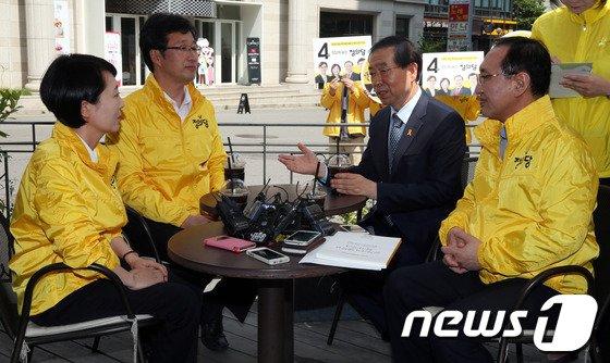 [사진]정의당 대표단 만난 박원순 후보