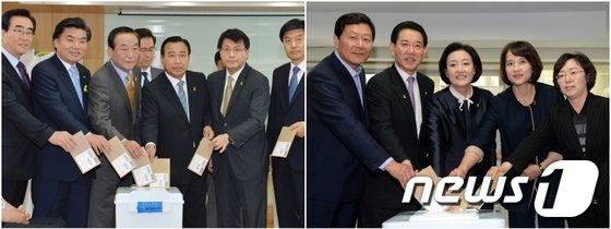 6·4지방선거 사전투표 첫 날인 30일 여(왼쪽)·야 원내대표단이 각각 사전투표에 참여하고 있다.© News1   이준규 기자