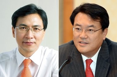 충남지사 선거에 나선 정진석(오른쪽) 새누리당 후보와 안희정 새정치연합 후보. © News1 김보영