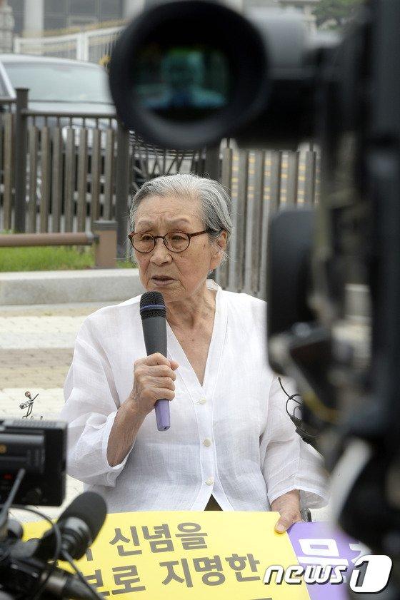 """[사진]김복동 할머니 """"문창극 후보자 사과, 진정성 없어"""""""